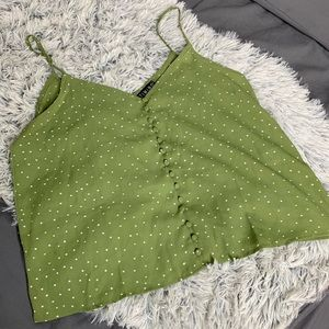 Green Spring Button up Polka Dot Crop Top